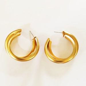 Gold Tone Frosted Double Hoop Earrings